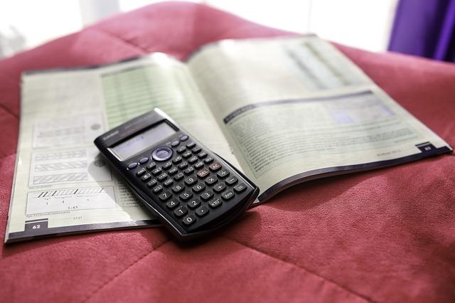 calculator and a book